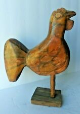VINTAGE FOLK ART WOOD CHICKEN SCULPTURE. HAND CARVED & PAINTED, VERY DETAILED