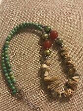 Jasper Carnelian Stone Necklace 16-17� Barse Sterling Silver Turquoise Pearl