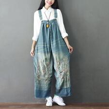 Women Denim Bib Overalls Jumpsuits Wide Pants Embroidery Distressed Rompers FBA