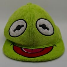 MUPPETS Kermit the Frog Furry Face Fitted Hat Baseball Cap Fuzzy Soft Green