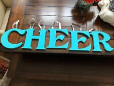 Girl's CHEER Wooden Wall Hanging, Turquoise and Silver Ribbon