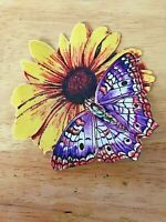 Pretty Butterfly On Flower - 1 - Iron-On Appliques (D)