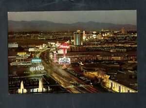 E570 Chrome Advertising Postcard 5x8 Night Lights Fabulous Strip Las Vegas