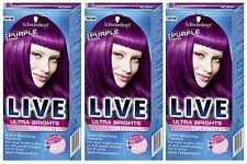 Schwarzkopf Live Ultra Brights 094 Purple Punk Semi-Permanent Hair Dye x 3