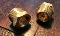 """Qty 2: 1/2"""" MNPT X 1/4"""" FNPT Brass Hex Reducer, Reducing Coupling Fast Free S/H"""