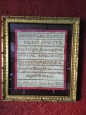Antique 19thc Victorian embroidered sampler by Amelia Houghton 1856 Litchfield