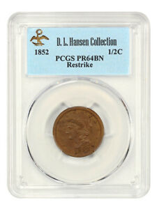1852 1/2c PCGS PR 64 BN (Restrike) ex: D.L. Hansen - Scarce Proof Half Cent