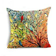 destockage housse de coussin neuve imprimé d'oiseaux multicolores