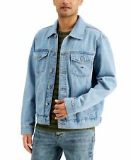 Tommy Hilfiger Mens Trucker Jean Jacket Blue Size XL Flag Patch Denim $149 072
