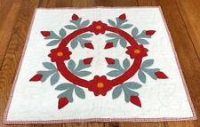 Red Green c 1860s Album Wreath ANTIQUE Table Quilt Doll 23 x 21 Applique