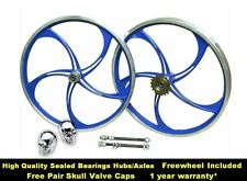 "20"" BLUE Alloy BMX Bike Bicycle Mag Wheel Set 5x Twin Spokes 10mm Axle 20 Inch"