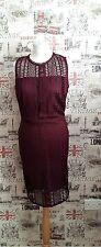 Vestido De Fiesta Borgoña vestido Vestido lápiz Crochet Corte Láser Boda Talla 8 Reino Unido