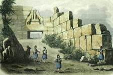 L'SPEAKER CYLOPEENNE GATE LIONS MYCENAE Engraving print original 1843