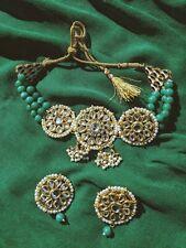 Green Pearl Kundan Necklace / Choker including Kundan Earrings Set