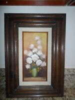 Vintage Oil Painting on Canvas - Roses in Vase- Framed Signed A.Julia W/C.O.A.