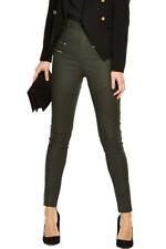 V by Very Olive Coated Utility Biker Jeans In Khaki Size 6