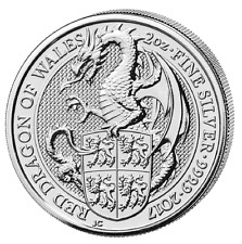 2 Oz Queens Beasts dragón de Gales 999 plata 5 libras Dragon of Wales 2017