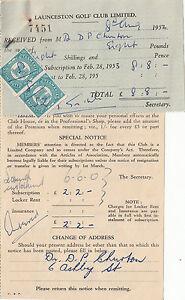 Receipt & Invoice 1952 Launceston Golf Club Ltd Tasmania pair of 1d stamp duty