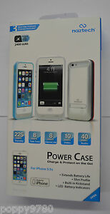 New Naztech Power Case For iPhone 5/ 5s w/ Kickstand Retail Teal / Blue / White