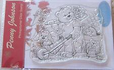 Stampavie PENNY JOHNSON Clear Stamp GARDENING FUN PEN68 Bear Puppy Hedgehog Bird