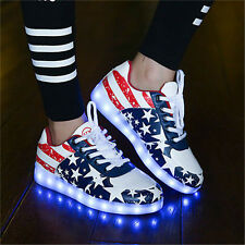 Men Women LED Luminous Night Light up Shoes Couples Sneakers Trainer USB Shoes