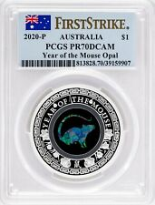 2020-P $1 Australia Year Of The Mouse Opal 1oz .9999 Silver Proof Pcgs Pr 70