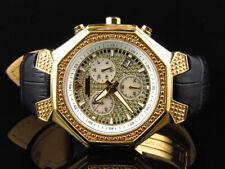 Mens Aqua Master Gold Finish Octagon Shape Diamond Watch 42mm W#118 0.25 Ct