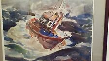 Arthur Beaumont Exceptional and Stunning Watercolor 1939, Boat battling Sea.