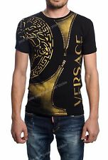 Men Short Sleeve Basic T-shirt Versace Crew Neck Black Color Large Free Shipping