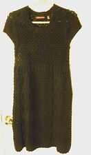 525 AMERICA~ADORABLE BLACK SHORT SLEEVE CABLE KNITTED SWEATER DRESS~SIZE MED