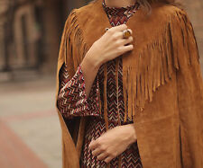 ZARA CAMEL STUDIO CAPE WITH LEATHER FRINGING FW15 SIZE M (ONE SIZE FITS ALL)