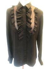 Dolce & Gabbana D&G Black Ruffle Tuxedo Button Blouse Womens size EU 44 US 10