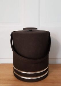 Brown fabric faux suede? ice bucket w/ lid, handle. Silver color trim. insulated
