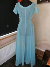 Beautiful 1950s/1960s Maxi Blue Flocked Sheer Hostess Prom Party Dress 10-12 VGC