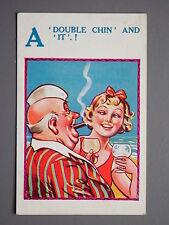 R&L Postcard: Comic, HB Ltd No.4822, Double Chin Cubby Man Smoking Cigar