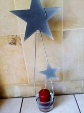 Metall Hänger Sterne mit Windlicht Glas H70 in Farbe Tischleuchter Kerzenständer