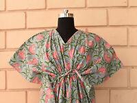 Gorgeous Kaftan Dress Floral Printed Cotton Dress Resort Wear Summer Party Dress