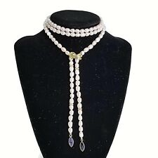 Laura Ramsey 14K YG Lariat Necklace 2ctw Iolite Natural Pink Fresh Water Pearls
