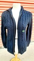 $59 NWT LL Bean Cable Knit Jacket Cardigan Sweater Navy Zip Up Hooded sz LARGE