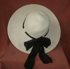 Off White 100% Paper Straw Wide Brim  Hat, One Size Fits Most