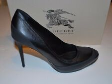 BNWT Beautiful Designer BURBERRY Black Leather Pump Shoes 40-1/2  ITALY