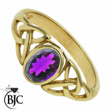 Solitaire Amethyst Yellow Gold Not Enhanced Fine Rings
