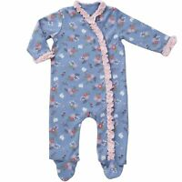 Asher & Olivia Footed Pajamas for Girls Top Baby Hat Side Snap Footie Sleepers