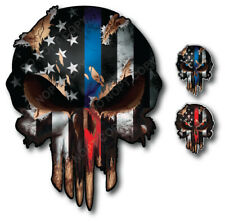 3x Thin Blue Red Line Skull American Flag Sticker Vinyl Decal Car Truck Window