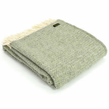 TWEEDMILL TEXTILES KNEE RUG Wool Sofa Bed Throw Blanket - ILLUSION GREEN GREY