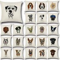 """18"""" Dog Linen Decor Cotton Throw Pillow Case Sofa Cushion Cover Car Pillowcases"""