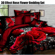King Size Duvet Cover Fitted Sheet 2 Pillow Case 3D Effect Rose Soft Bedding Set