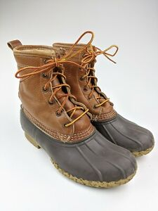 "Women's LL Bean 8"" SHEARLING LINED Bean Boots Tumbled Leather Sz 8"