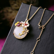 Collier Pendantif Email Fleur Blanc Libellule Coccinelle Beige Original L5