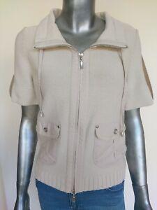 APRIORI Women's Zip Front Beige Knit Top Size 10 GB